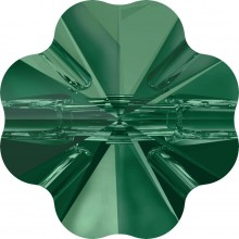 Clover Crystal Button 14mm Emerald UF Transparent