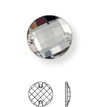 Schachbrett Aufnähstein flach 2 Loch 16mm Crystal F