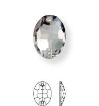 Oval Aufnähstein flach 2 Loch 24x17mm Crystal F