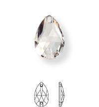 Pearshape Aufnähstein flach 2 Loch 28x17mm Crystal F