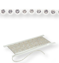 Plastik Strass Borte ss13 (4,1mm) 8 rows, Crystal F (C00030), Transparent plastic base, White threads
