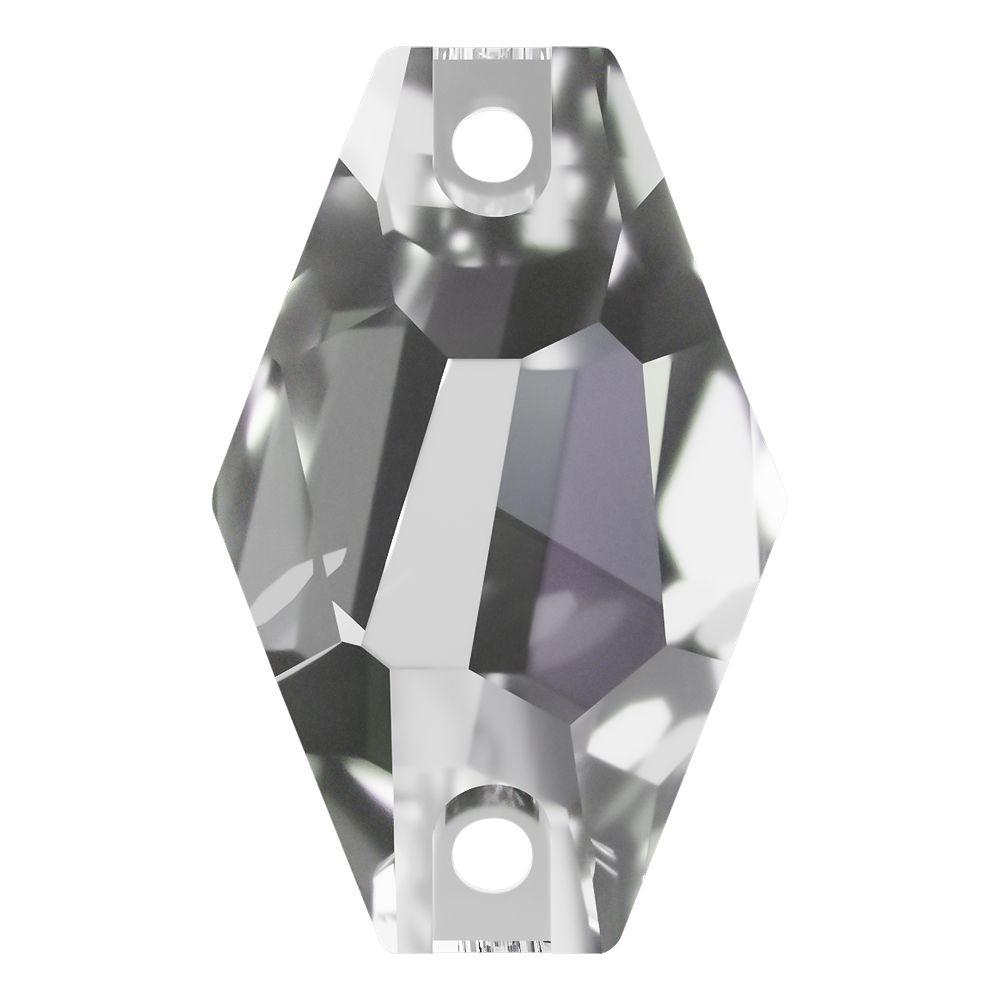 Hexagon Aufnähstein flach 2 Loch 28x17mm Crystal F