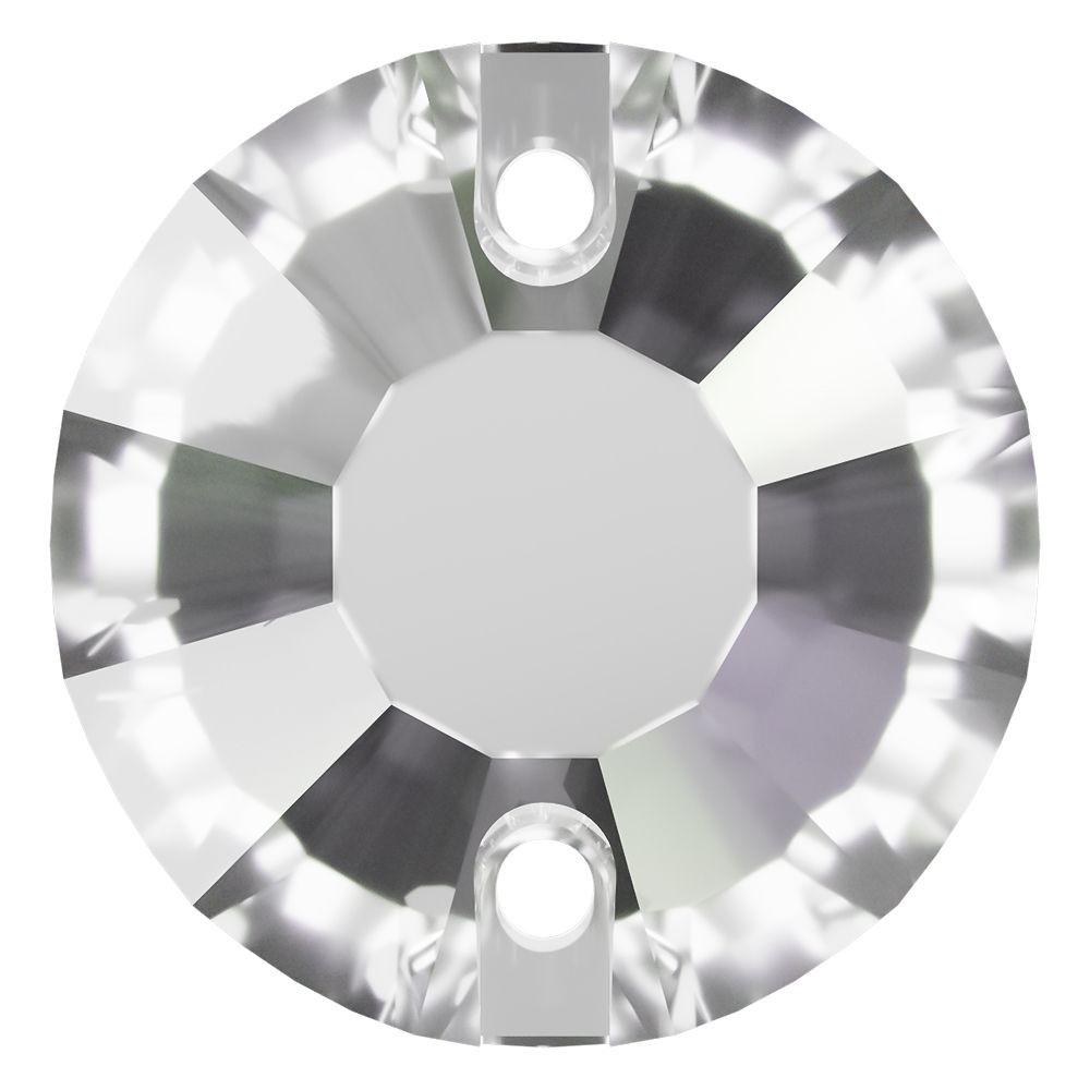 Rose Aufnähstrass flach 2 Loch 12mm Crystal F