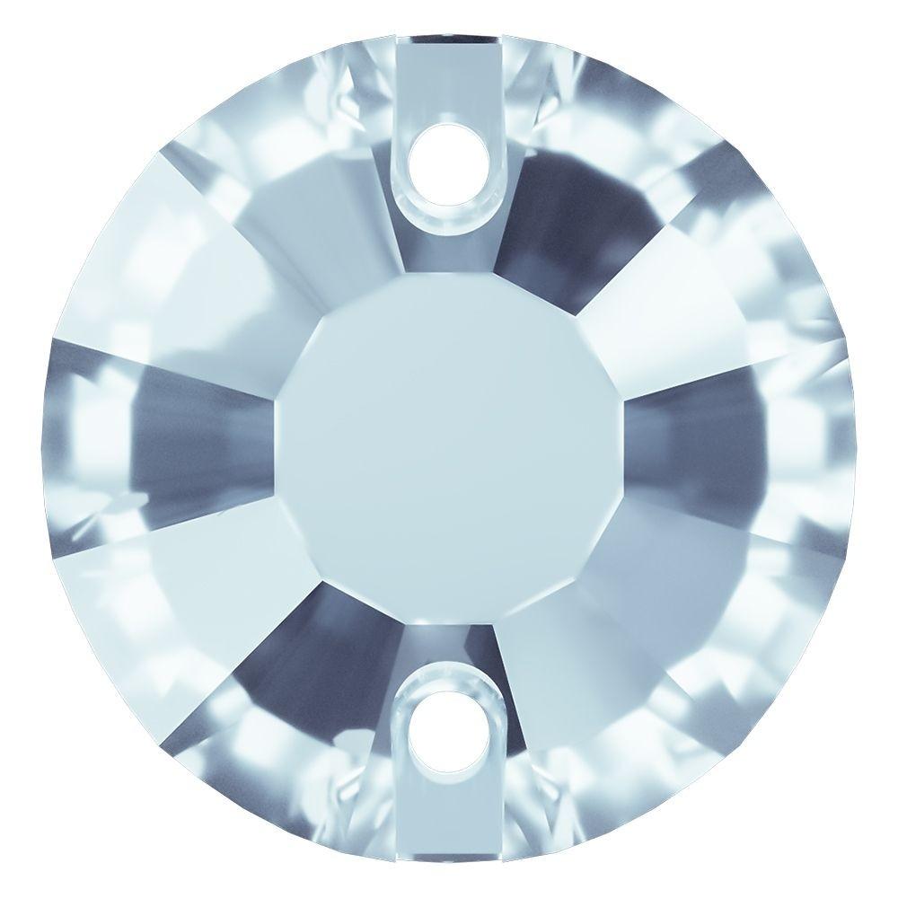 Rose Aufnähstrass flach 2 Loch 10mm Light Sapphire F