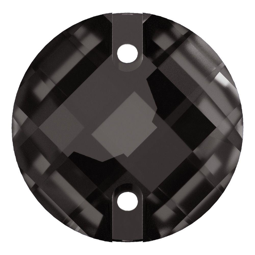 Schachbrett Aufnähstein flach 2 Loch 14mm Black Diamond F