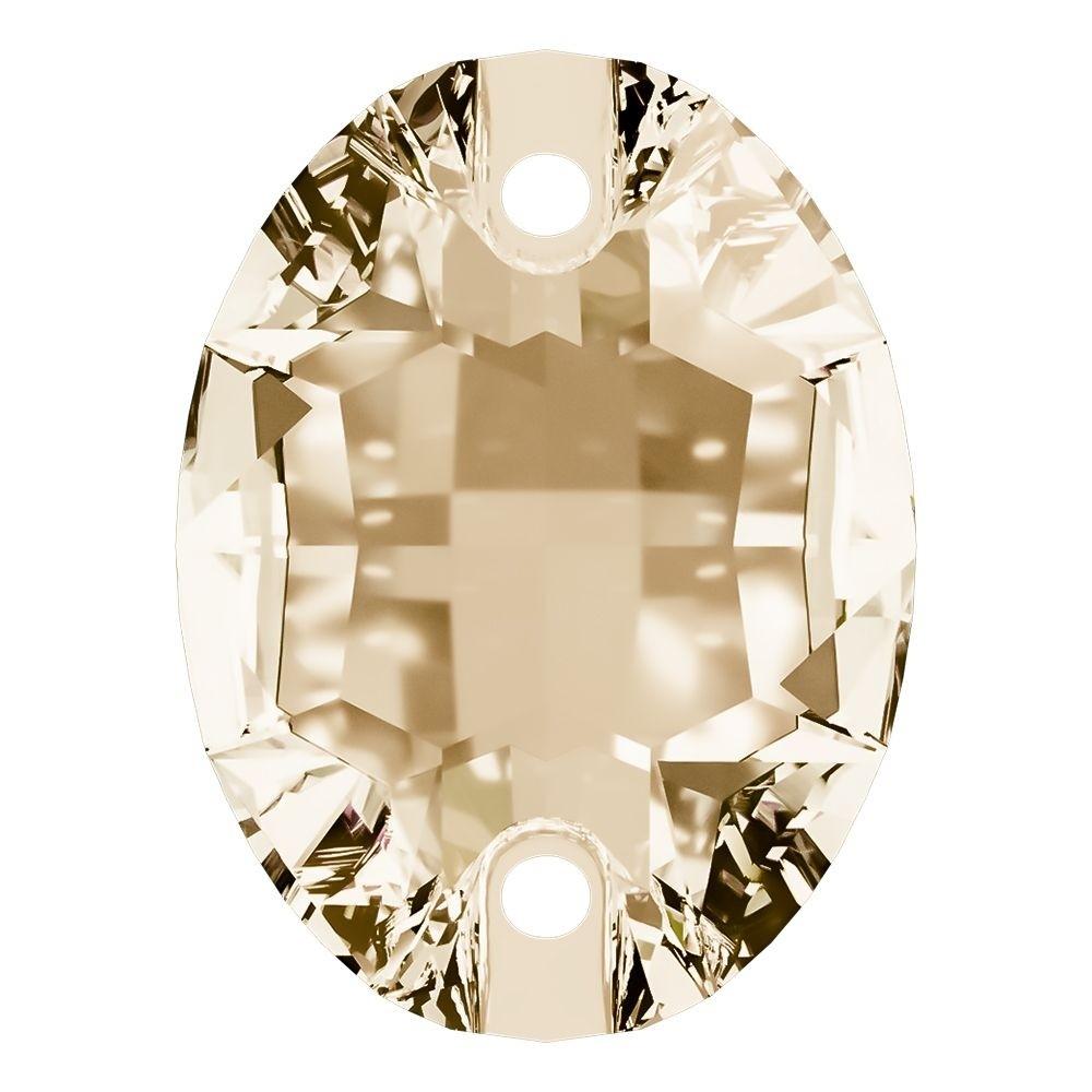 Oval Aufnähstein flach 2 Loch 24x17mm Crystal Golden Shadow F