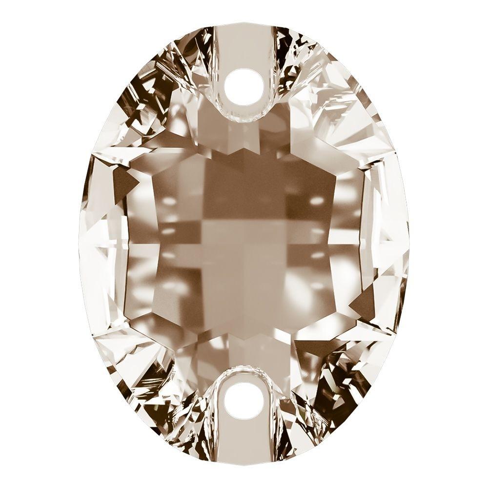 Oval Aufnähstein flach 2 Loch 16x11mm Light Colorado Topaz F