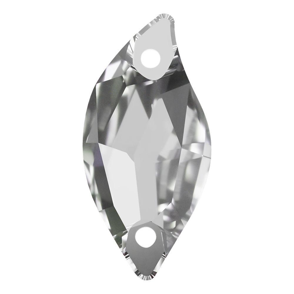 Leaf Aufnähstein flach 2 Loch 20x9mm Crystal F