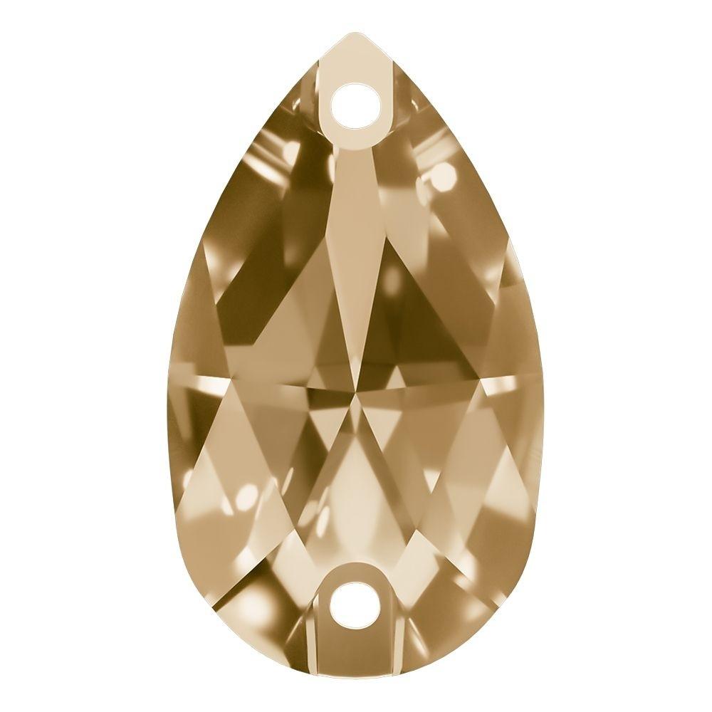 Pearshape Aufnähstein flach 2 Loch 22x13mm Crystal Golden Shadow F