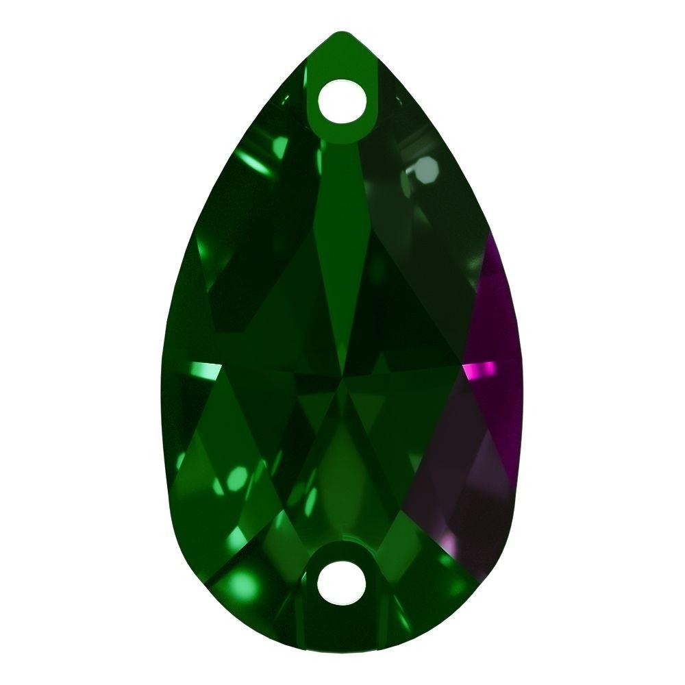 Pearshape Aufnähstein flach 2 Loch 18x11mm Emerald F