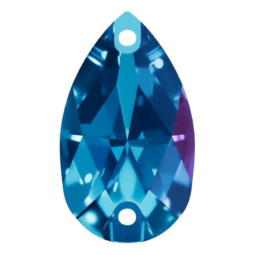 Pearshape Aufnähstein flach 2 Loch 28x17mm Blue Zircon F