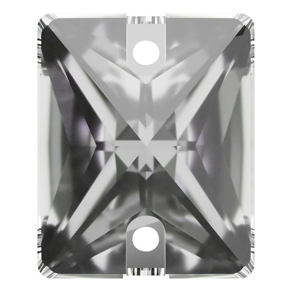 Baguette Aufnähstein flach 2 Loch 18x13mm Crystal F