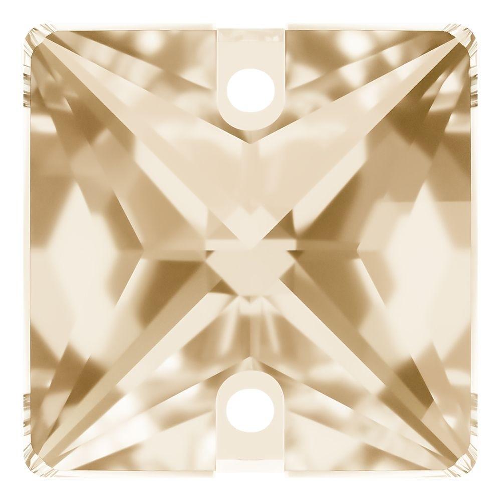 Square Aufnähstein flach 2 Loch 22mm Crystal Golden Shadow F