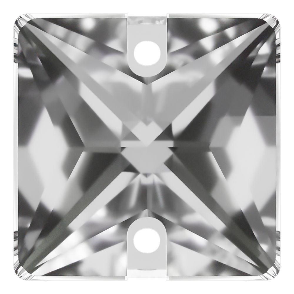 Square Aufnähstein flach 2 Loch 22mm Crystal F