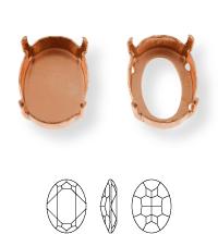 Oval Kessel 10x8mm, Sew-on 4 holes/2 each side, open, Light Gold