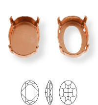 Oval Kessel 12x10mm, Sew-on 4 holes/2 each side, open, Platin
