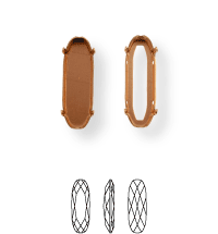 Long Classical Kessel 21x7mm, Sew-on 4 holes/2 each side, open, Platin