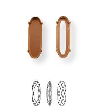 Long Classical Kessel 27x9mm, Sew-on 4 holes/2 each side, open, Silver