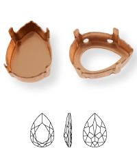 Pearshape Kessel 14x10mm, Sew-on 4 holes/2 each side, open, Light Gold