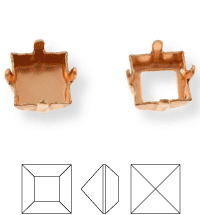 Square Kessel 10mm, Sew-on 4 holes/2 each side, open, Light Gold