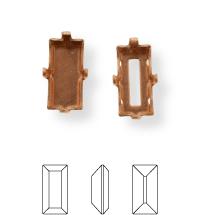 Baguette Kessel 7x3mm, Sew-on 4 holes/2 each side, closed, Light Gold