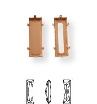 Baguette Kessel 21x7mm, Sew-on 4 holes/2 each side, open, Light Gold