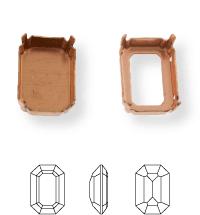 Octagon Kessel 8x6mm, Sew-on 4 holes/2 each side, open, Silver