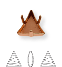 Triangle Kessel 21.5mm, Sew-on 4 holes/2 each side, open, Light Gold