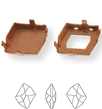 Irregular Kessel 20x16mm, Sew-on 4 holes/2 each side, open, Light Gold