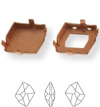 Irregular Kessel 20x16mm, Sew-on 4 holes/2 each side, open, Platin