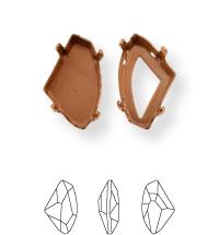 Irregular Kessel 19x11.5mm, Sew-on 4 holes/2 each side, open, Gold