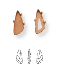 Wing Kessel 32x13.5mm, Sew-on 4 holes/2 each side, open, Platin