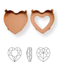 Heart Kessel 14x14mm, Sew-on 4 holes/2 each side, open, Light Gold