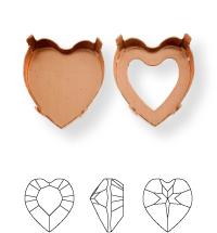Heart Kessel 11x10mm, Sew-on 4 holes/2 each side, open, Platin